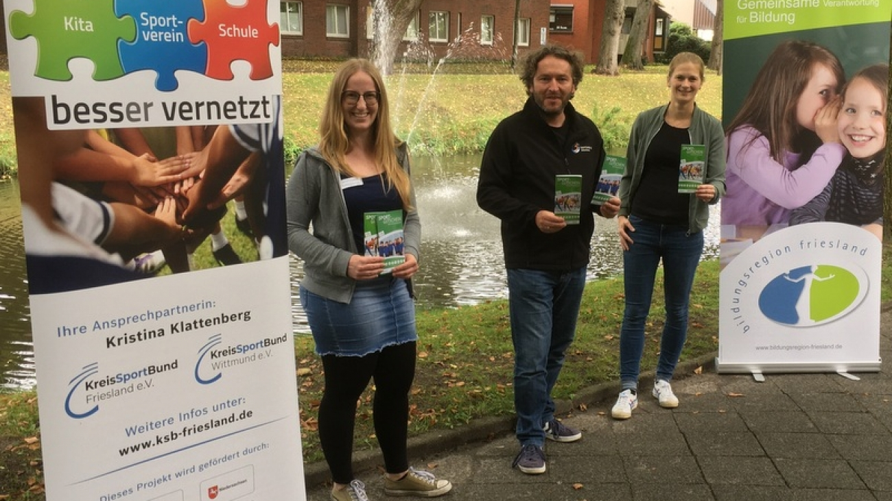 Von links: Kristina Klattenberg (BeSS-Servicestelle KSB Friesland und Wittmund, Michael Wessel (Sportjugend Wittmund) und Ann-Kathrin Wehmeyer (Bildungsregion Friesland)